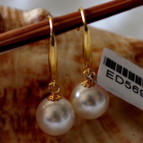 Bella coppia 10-11mm sud del mare rotondo bianco perla orecchino in oro 14k