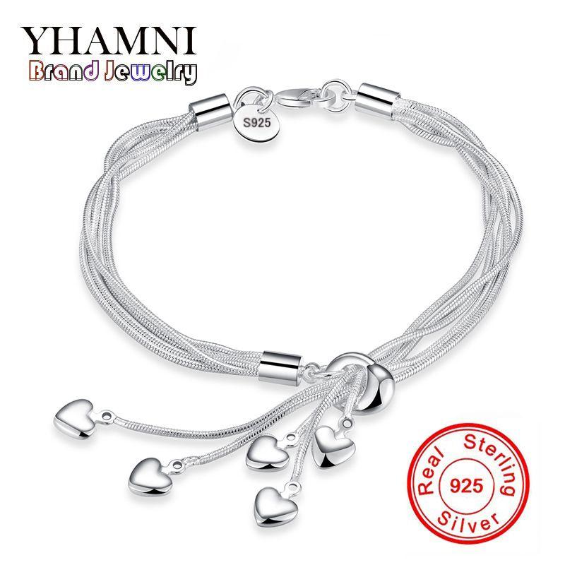 Gioielli di marca YHAMNI Gioielli di lusso in argento sterling 925 Bracciale cuore gioielli per le donne Bracciali Charm moda nuovi gioielli di marca H067
