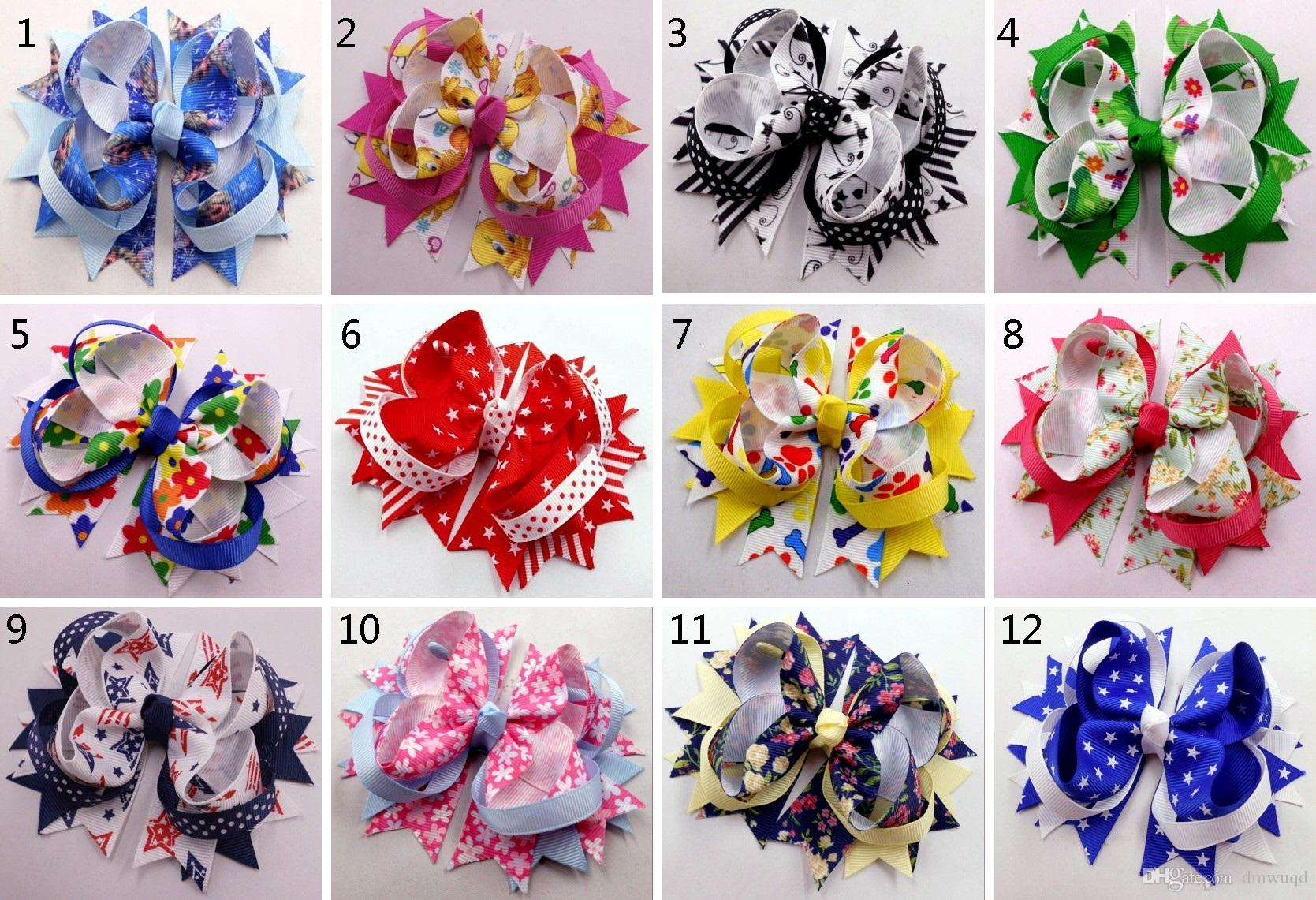 "4.5"" Girl Grosgrain stacked bow headdress Accesories clip 30pcs"