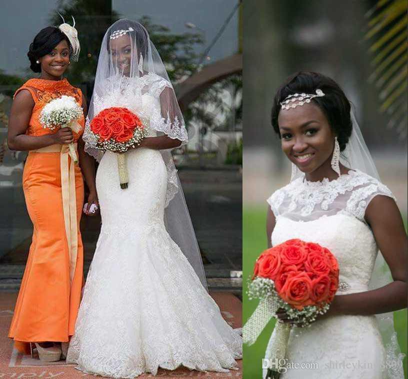 Gorgeous Mermaid Long Wedding Dresses 2017 Bateau Neck Full Lace Cape Sleeve African Style Court Train Boho Bridal Gown Custom Made