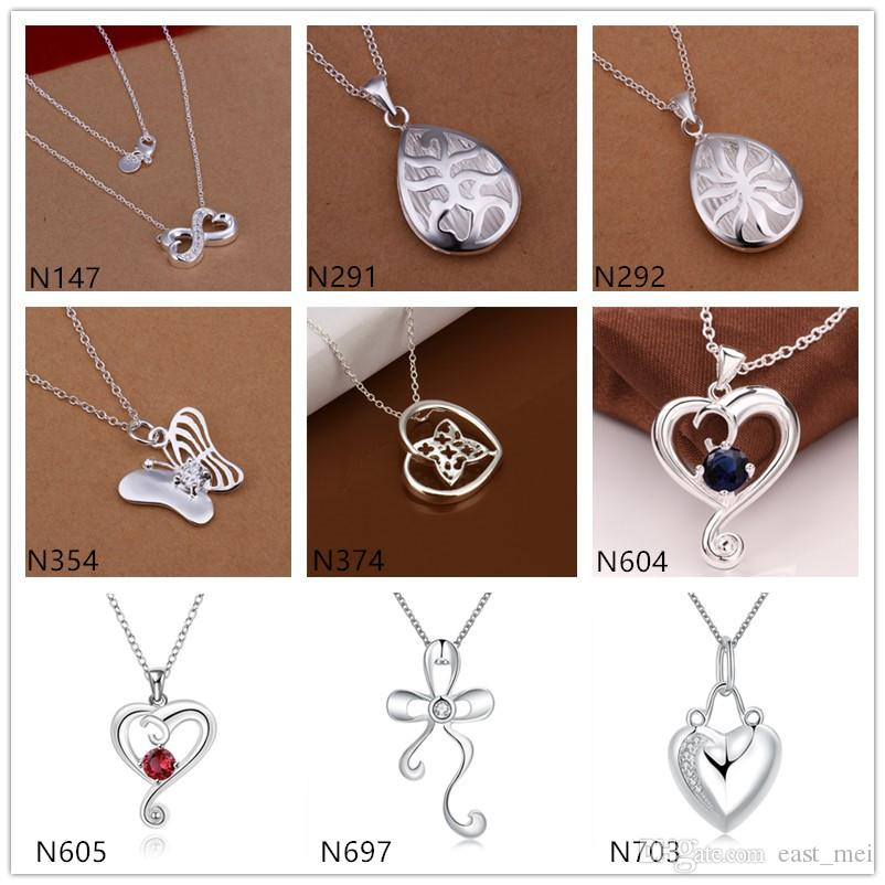 Digital heart shape 925 silver Necklace(with chain) 10 pieces a lot mixed style,cheap women's gemstone sterling silver Pendant Necklace EMP7