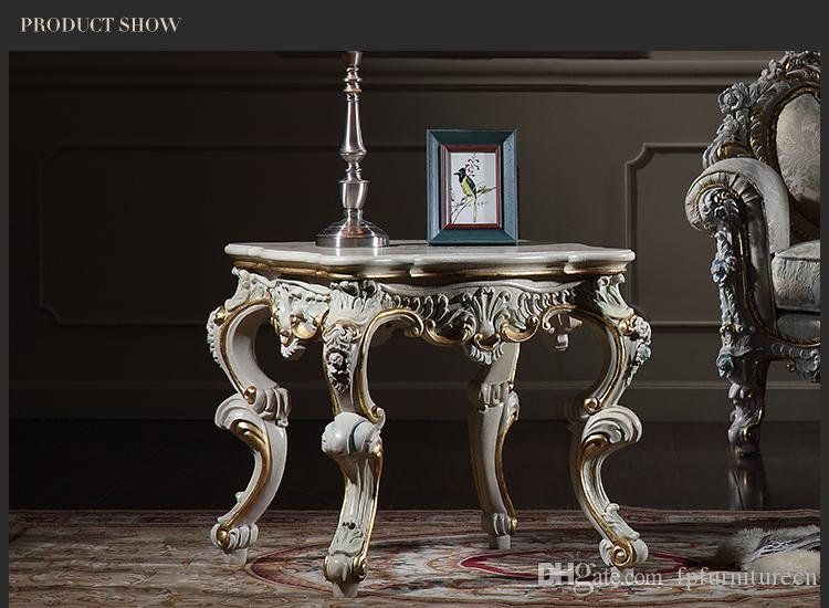 Antique baroque living room furniture-French classic coffee table with cracking paint - Italian classic coffee table