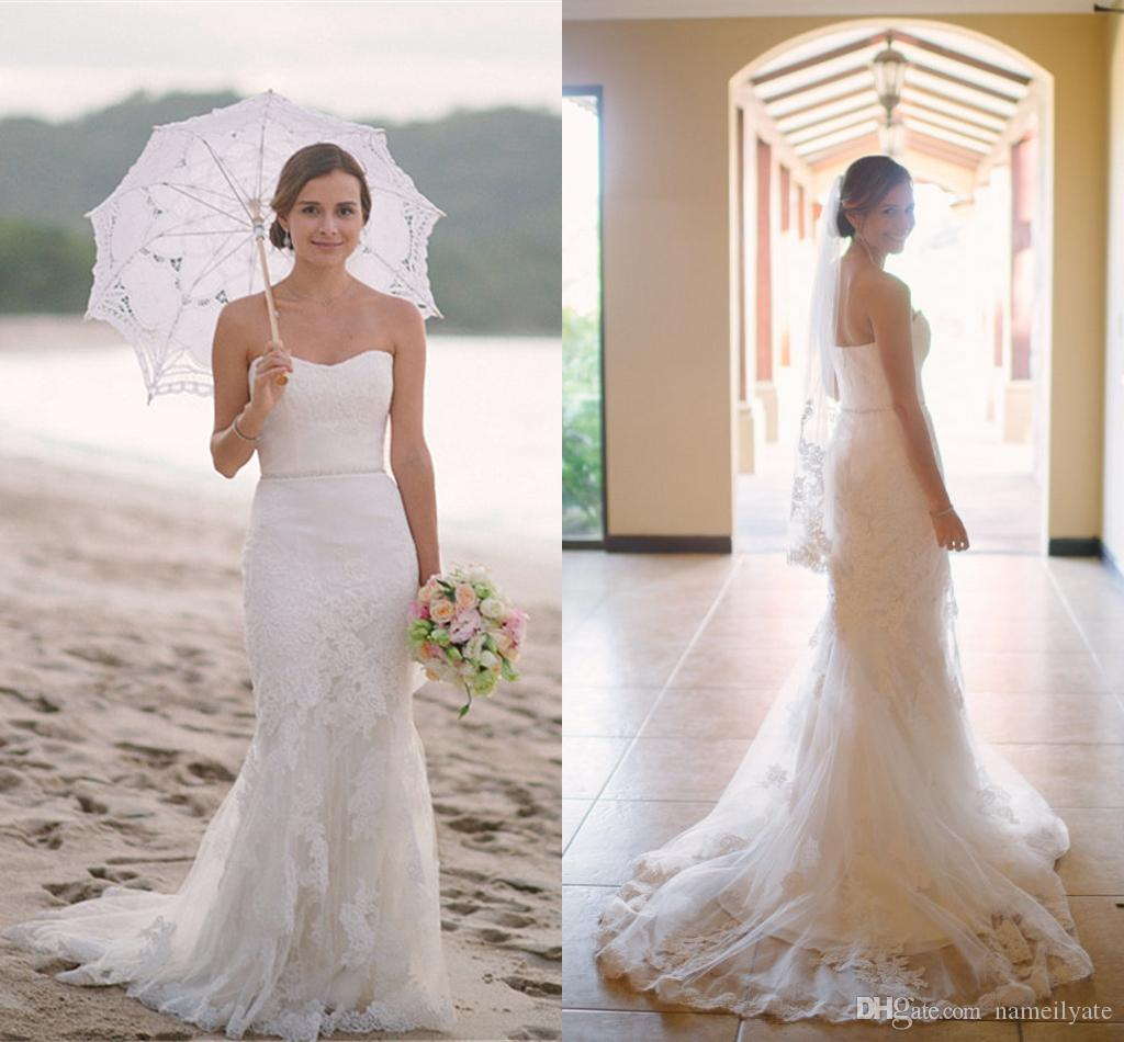 Hot Cheap Plus Size 2017 Lace Beach Wedding Dresses For Summer Mermaid Strapless Bridal Gowns Vestidos De Noiva Dress for Bride