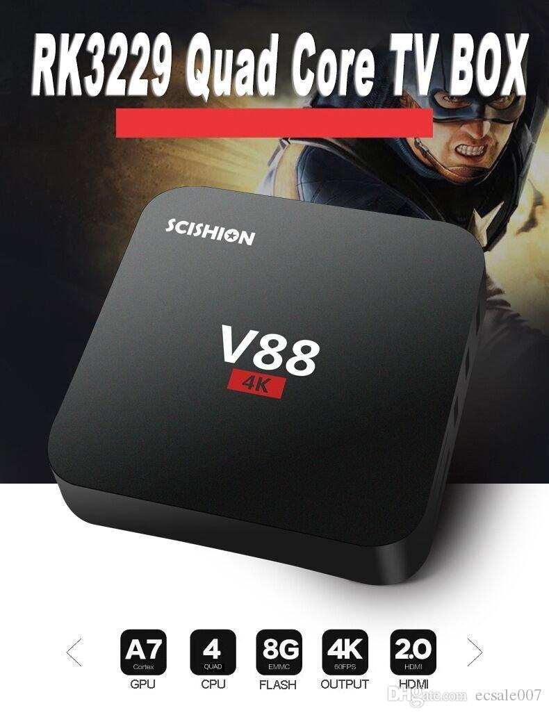 صندوق TV V88 4K الذكية ROCKCHIP 3229 رباعية النواة H.265 1GB DDR3 RAM 8GB ROM eMMC البسيطة PC Android7.1 فك التشفير
