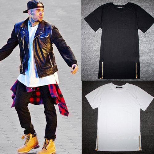 2016 yeni chris kahverengi erkekler genişletilmiş altın fermuar yan erkekler t-shirt pamuk katı erkek üstleri hip hop beyaz siyah tees