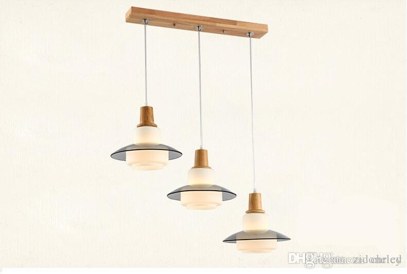 Luces colgantes de cristal led beige moderno accesorio de iluminación de la lámpara de madera para la iluminación del restaurante del dormitorio del comedor