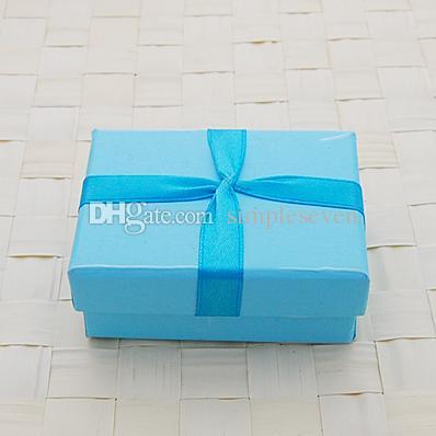 [Simple Seven] Lovers Boîte de bague / Solide Bleu Pedant Boîte / Mode Collier Paquet / bijoux spéciaux Cas / Tendance bijoux boîte avec ruban