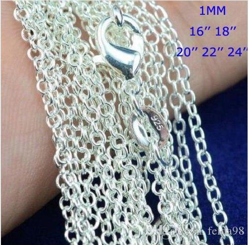 """Meilleur prix ! 100pcs / lot 925 Sterling Silver Rolo """"O"""" chaîne Colliers Bijoux 1mm 16 '' - 24 '' 925 Silver DIY Chaînes Fit Pendentif Bijoux"""