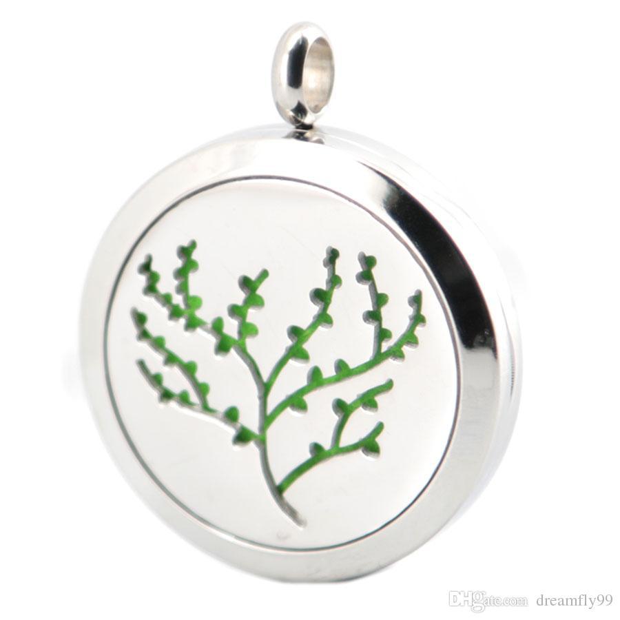 Новый дизайн дерево листьев ароматерапия эфирное масло хирургическая нержавеющей стали духи диффузор медальон ожерелье с цепи и колодки