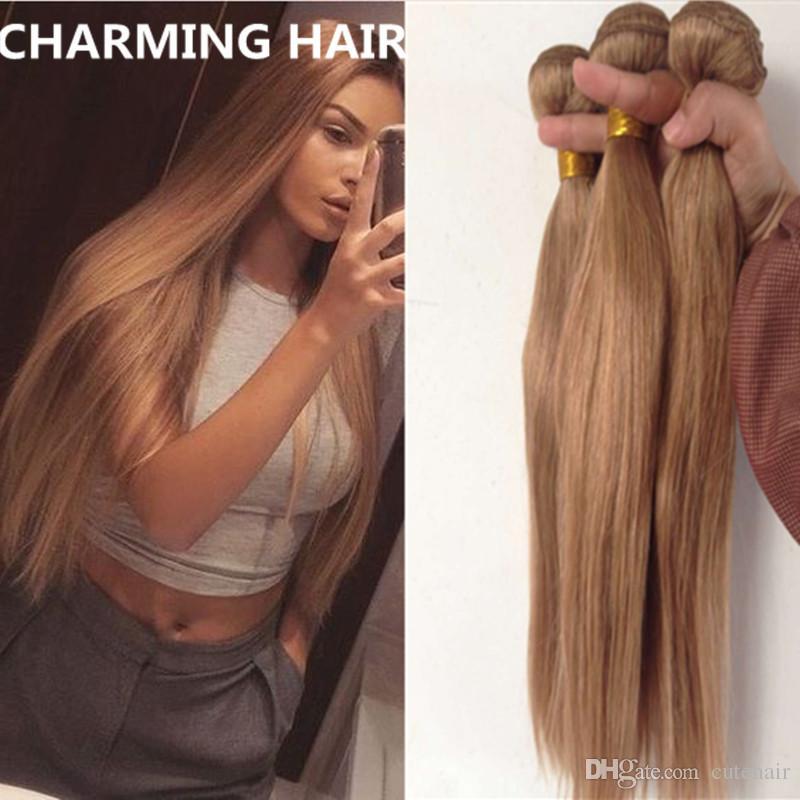 Бразильские блондинки Прямые наращивания волос Бразильские 27 меда Блондинка Virgin Hair 3 Bundles Honey Blonde Brazilian Hair Free Ship