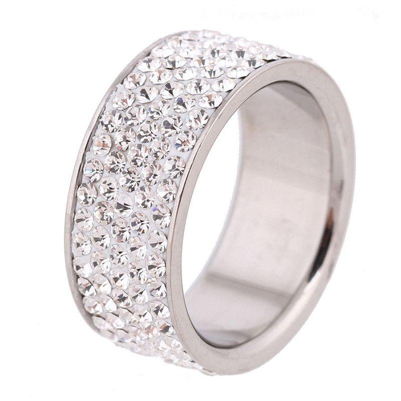 5 linhas de linha limpar jóias de cristal moda anéis de noivado de aço inoxidável anel elegante moda jóias de noivado casamento promessa anéis