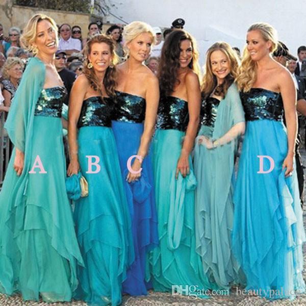 Strapless Sparkly azul marinho lantejoula longo Chiffon da dama de honra vestidos em camadas turquesa barato dama de honra vestidos de festa de casamento Prom Vestidos
