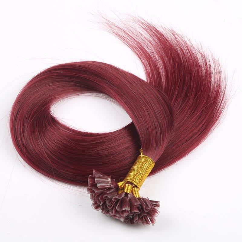 Punta doble de Keratina INDIAN REMY Extensiones de cabello humano 0.8g / s 200s / lot 99J Extensiones de cabello color U U, Free Dhl