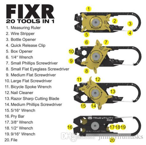 Hot True Utility FIXR 20 in 1 멀티 도구 메탈 블랙 스테인레스 포켓 도구 키 체인 새로운 기능