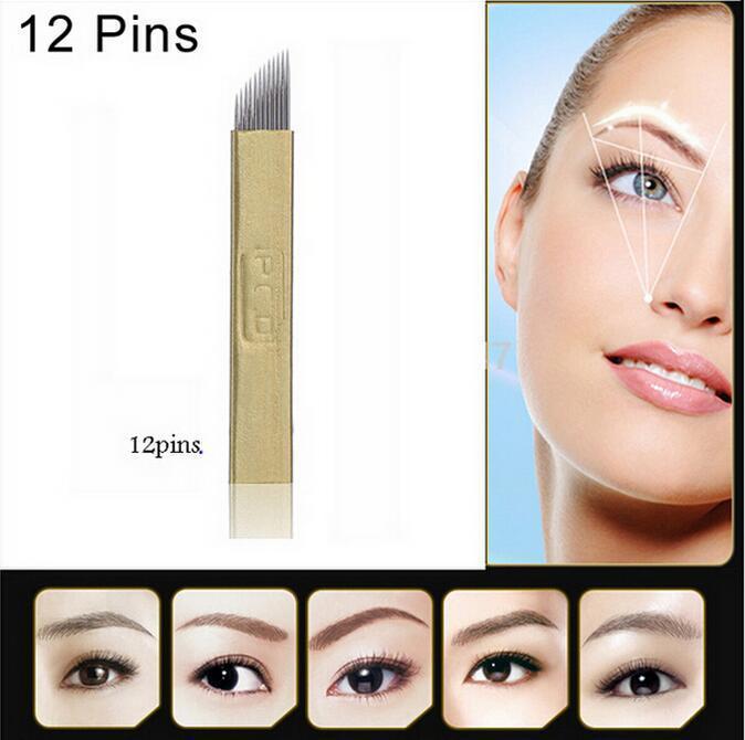 50 PCS PCD 12-Pin Manual de Maquiagem Permanente Sobrancelha Agulhas de Tatuagem Lâmina Para Microblading Pen