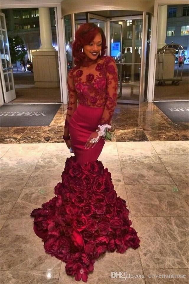Borgonha árabe Vestidos de Baile 2016 Manga Longa Sexy Lace Rose Floral Evening Sereia Dressless Backless Vestido de Festa Vestidos De Novia