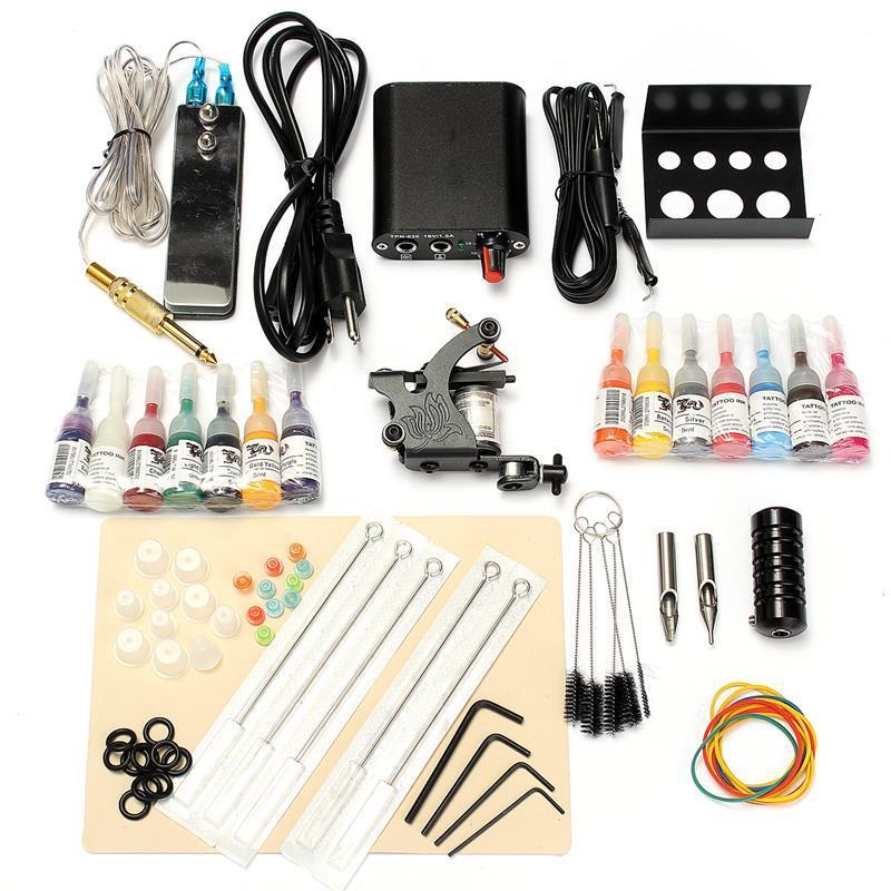 Profissional 1 Conjunto 90-264 V Completa Máquina de Tatuagem Máquina de Tatuagem 14 Tintas de Cor Kit de Cabo De Alimentação de Energia Corpo Beleza DIY ferramentas