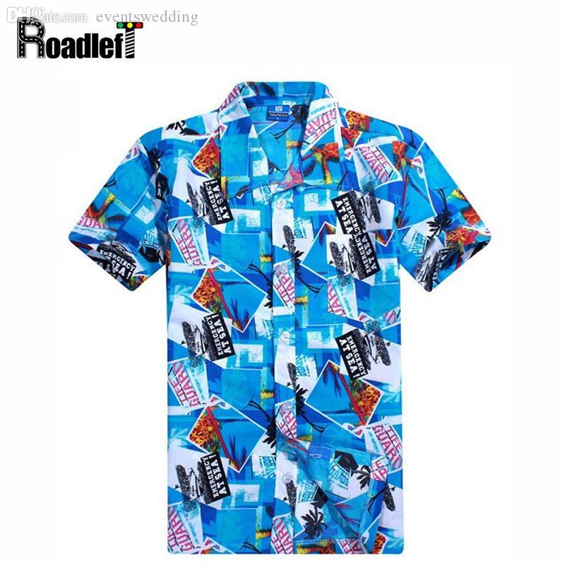 Оптовая продажа-Новый 2016 Мужская одежда лето с коротким рукавом рубашки мужчины гавайские рубашки повседневная цветочные рубашки camisas masculina, плюс размер 4XL