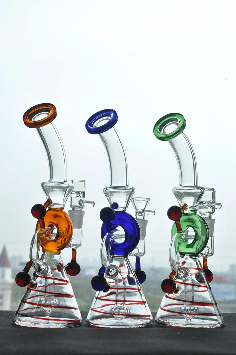 Реальные рис красочные стекла водопровод диффузор душевая кабина perc стекла Бонг ресайклер буровых установок с 14 мм совместных