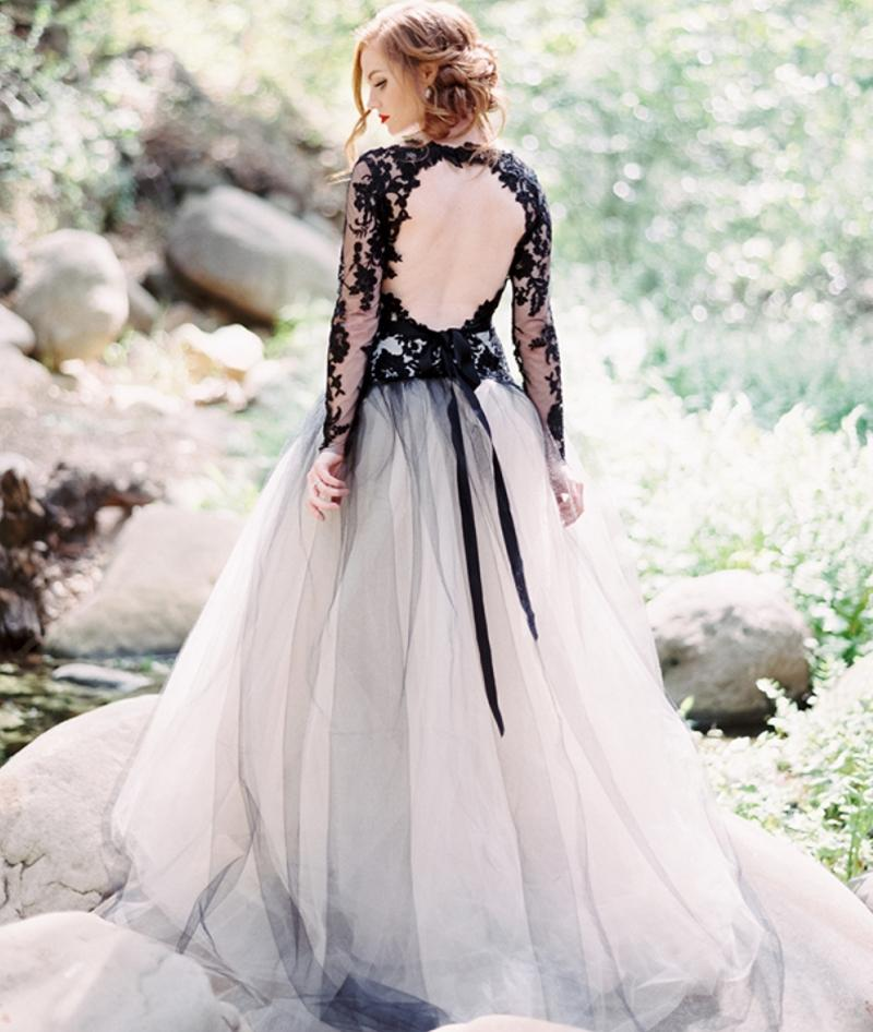 Discount Victorian Gothic Wedding Dress Black And White A Line ...