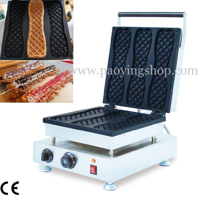 Frete Grátis Uso Comercial Não-stick 110 v 220 v Elétrica 3 pcs Pizza Waffle Vara Fabricante Máquina De Baker De Ferro