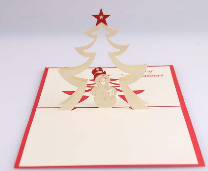 10pcs Snowman Star Handmade Kirigami Origami 3D Pop UP Greeting Cards Invitation Postcard For Birthday Christmas Party Gift