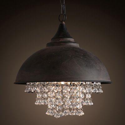 kitchen retro Vintage rustic iron hanging pendant lighting industrial lighting porch bedroom 1 pcs black Metal crystal pendant light