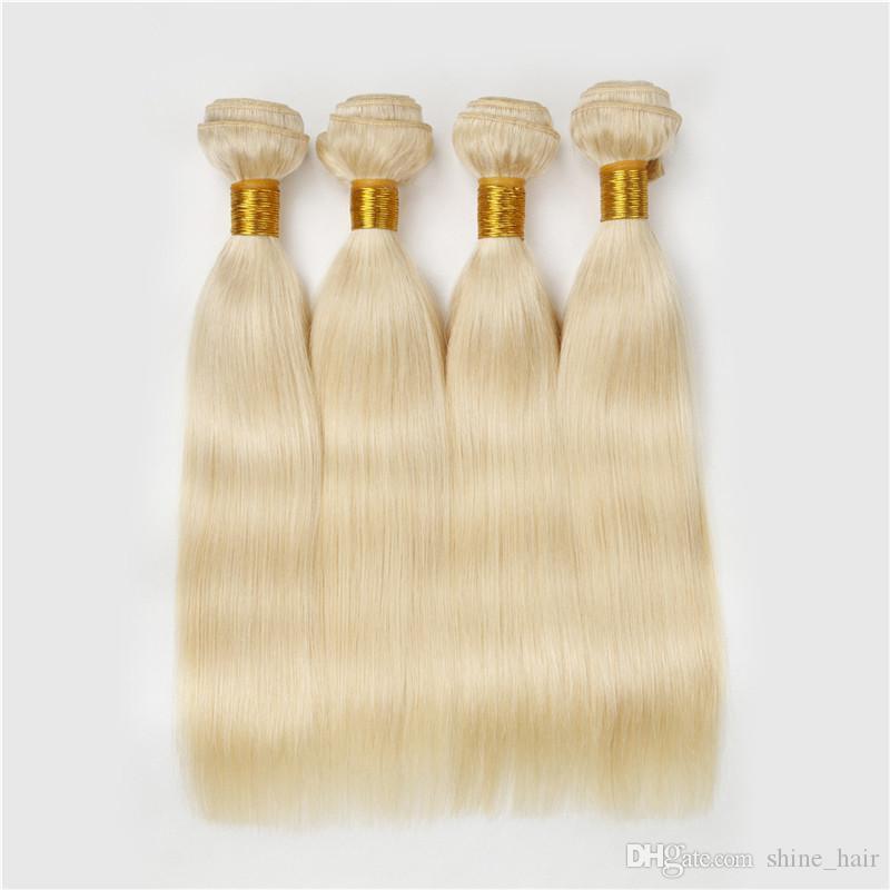 BRASILIEN BLONDE HUMAN CHEVEUX 4PCS Platinum Blonde Silky Silky Heart Heart Cheveux Blonde Human Tissure 9A Brésilien Human Cheveux Backles 613 Couleur pure