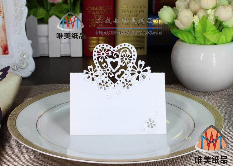 Fashion white Seat Name Cards Laser Cut for Wedding Party Decoration Multi color Love heart shape wedding table card seat card