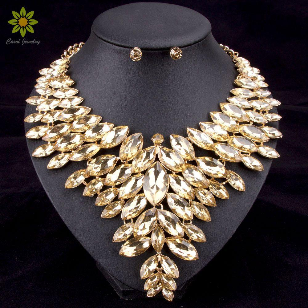 6Colors African Bead Jewelry Sets Wedding Necklace Womens Jewellery Set Gold Plated Crystal Necklace And Earrings