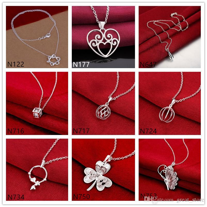 Women's gemstone sterling silver plated Pendant Necklace GTP1,Fashion flower butterfly 925 silver plate Necklace(with chain) mixed style