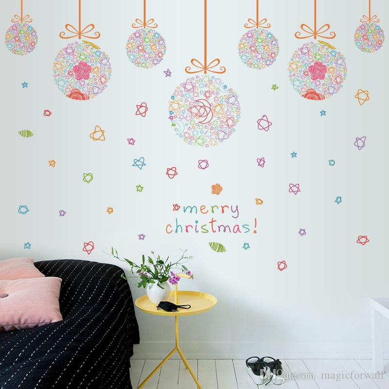 Christmas Colorful Ball Pendant Window Glass Decor Wall Stickers Festival Living Room Bedroom Wall Art Mural Posters Wall Graphic Quote