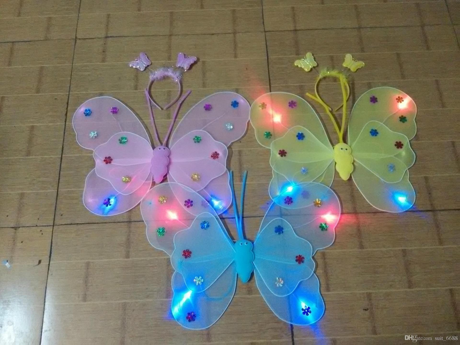 뜨거운 두 번 나비 날개 판매하는 무료 배송 공장 소품 수행 빛나는 천사 날개 어린이 장난감 도매