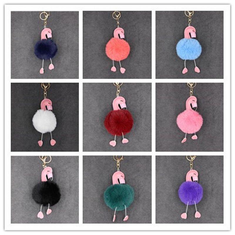 Cartoon Flamingo Keychain Lovely Fluffy Artificial Rabbit Fur Ball Key Chain Animal Bird Pompom for Women Bag parts 500pcs