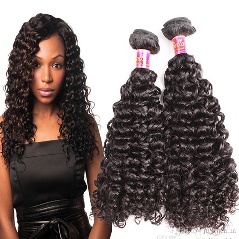 Bellahair® Indian Courly Wave Hair webt Schussbündel Unverarbeitete Jungfrauerweiterungen 8 ~ 30in 3