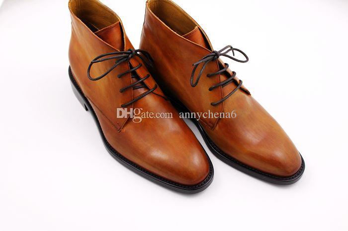 Men's boots Custom handmade shoes Genuine Calf Leather Round Toe design fashion boots Color Brown HD-B020