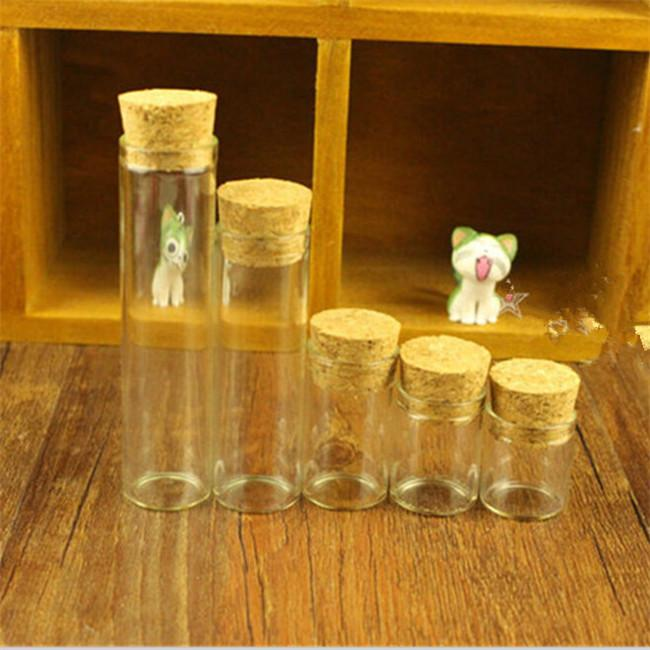 5ml Mini Glass Vials Jars Packaging Bottles Test Tube With Cork Stopper Empty Glass Transparent Clear Bottles 100pcslot