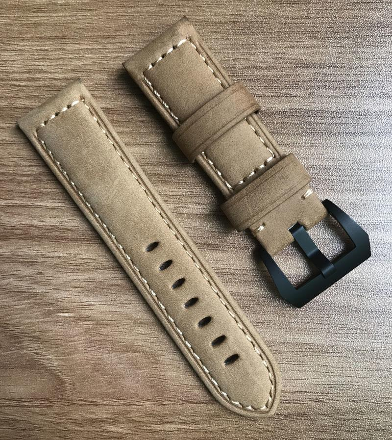 ocysa marrone nero cinturino cinturino cinturino in vera pelle di cavallo pazzo ocy002 24mm 26mm misura per pam