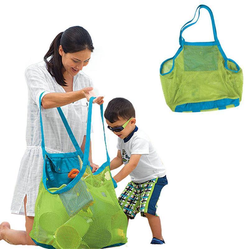 Taglia grandi Bambini Sand Away Beach Mesh Borsa Bambini Bambini Beach Giocattoli Vestiti Asciugamani Borsa Baby Toy Toy Collection Pelliccia