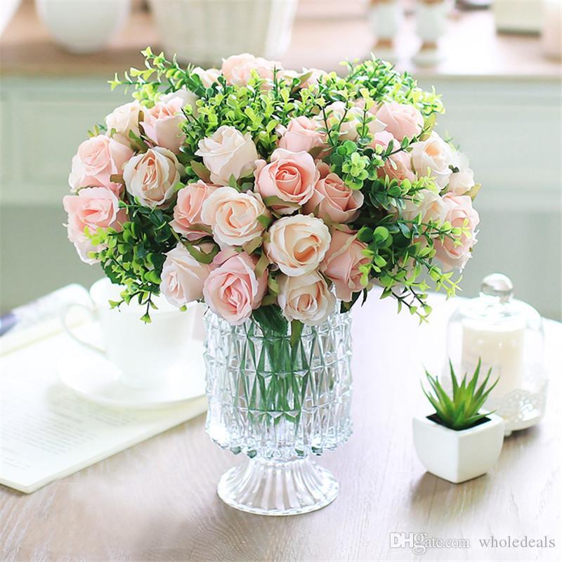 12pcs/lots Artificial Rose Flowers Wedding bouquet White Pink Thai Royal Rose Silk flowers Home Decoration Wedding Party Decor