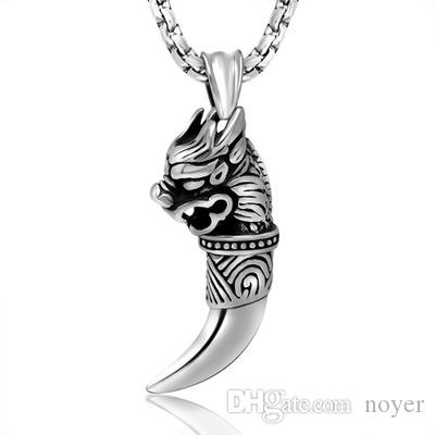 2017 New Wolf Tooth Pendants Stainless Steel Cool Fashion Jewelry Unique Pedant High Quality