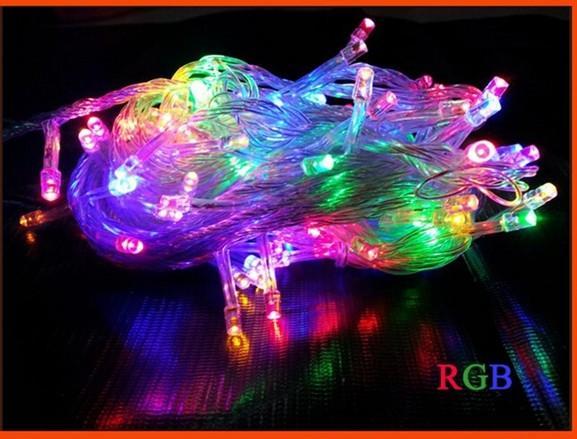 Hot Sale10M 100 LED de Cordas Natal Luz / casamento / partido luzes da decoração Iluminação AC 110V 220V, impermeável 9 cores 2pcs