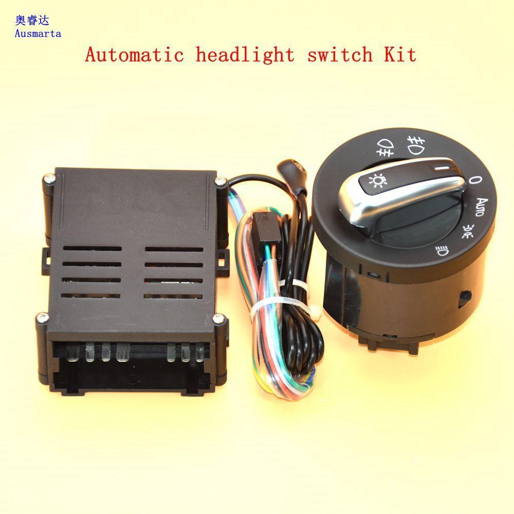 2 Pcs Car lights switch + chrome auto sensor light for VW Passat B5 Lavida Bora Polo Golf 4 new Jetta Santana Beetle 5ND941431B