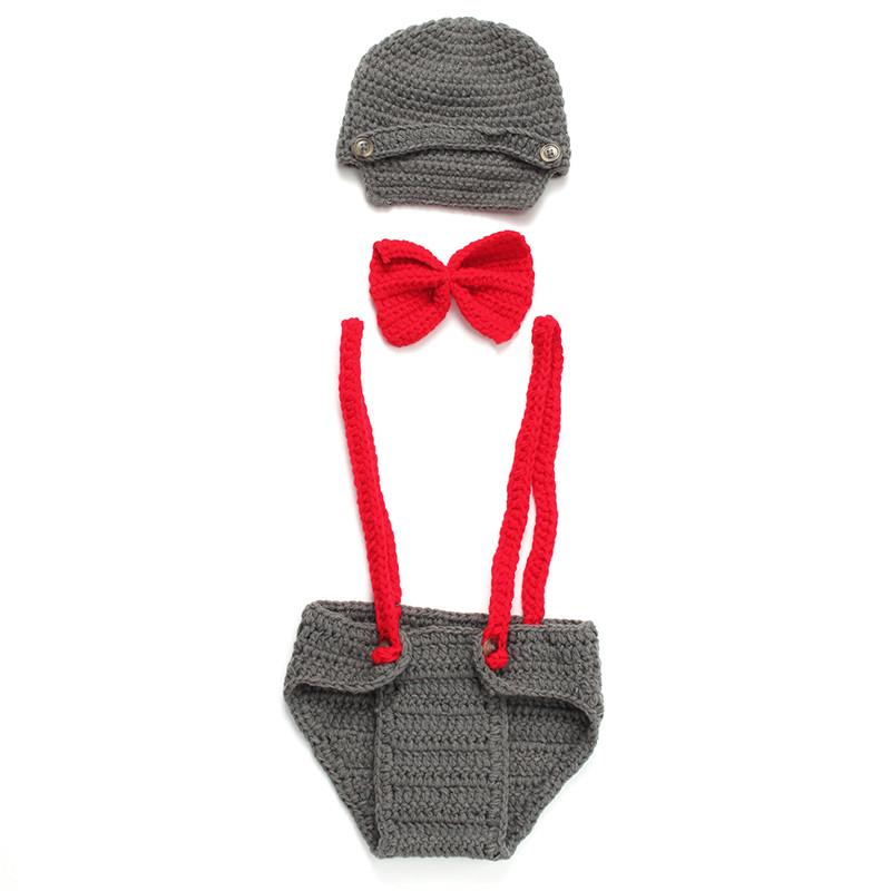 2016 New Born Photography Props Cotton Three Piece Suit Newborn Hats For Boys Red Gentleman Bow Tie With Dark Grey Winter Hat (4)