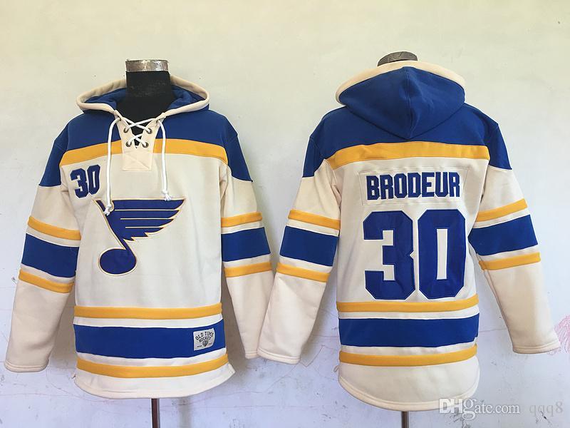 Alta qualidade ! 2016 New Old Time Hockey Jerseys St. Louis Blues # 30 Martin Brodeur Creme Com Capuz Pullover Camisolas Esportes Jaqueta de Inverno