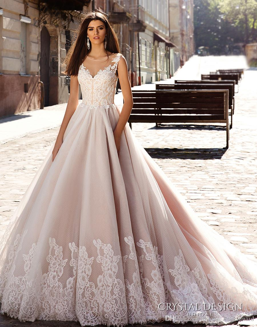 Discount Nude And Ivory Wedding Dress Vintage Wedding Gown Scoop ...