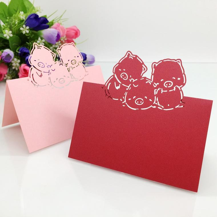 200pcs Laser Cut Hollow Pigs Paper Table Card Number Name Place Card For Baby Shower Party Wedding Decorate Customization