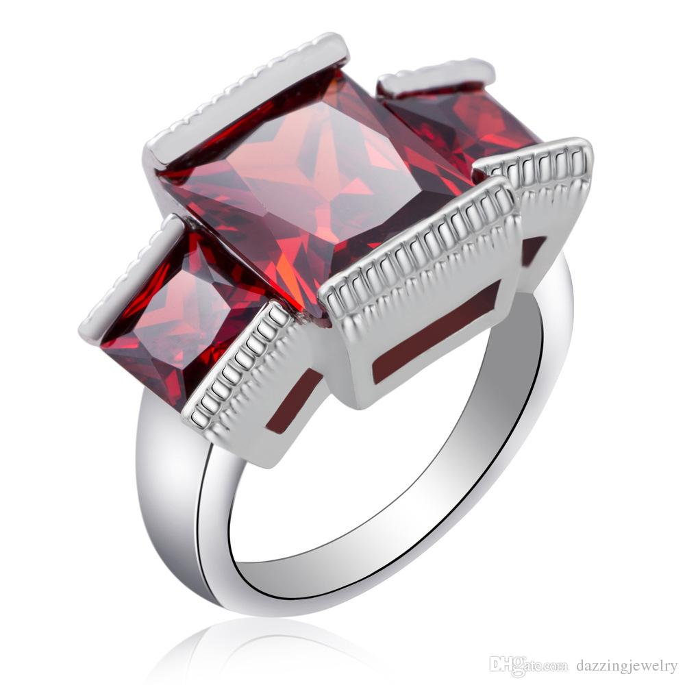 Hot sale fashion girl unique design three big red ruby cz zircon stone silver ring for engagement