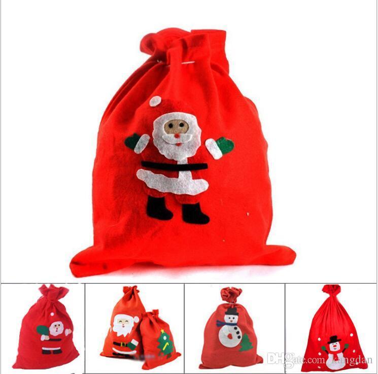 Papai Noel Saco De Papai Noel Natal Saco De Presente De Natal Dos Miúdos Sacos De Presente De Natal Dos Doces Saco Mochilas Xmas Sacos Mochila Com Cordão