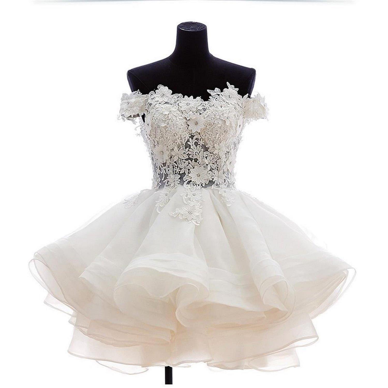 Mini abiti da ballo corto 2017 Pizzo bianco Appliques Off Spalline Organza Abito da homecoming con fiori fatti a mano Sexy Illusion Online Store